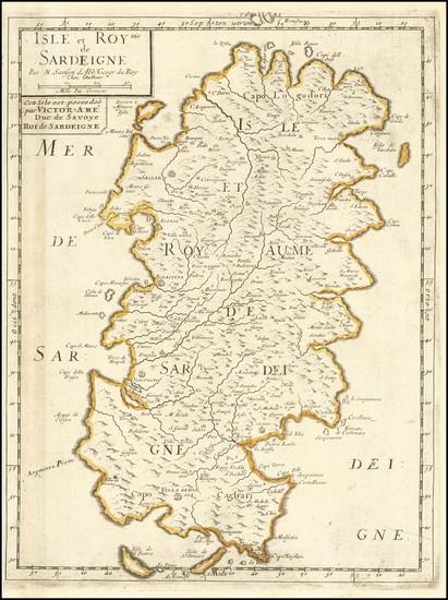 63-Sardinia Map By Nicolas Sanson