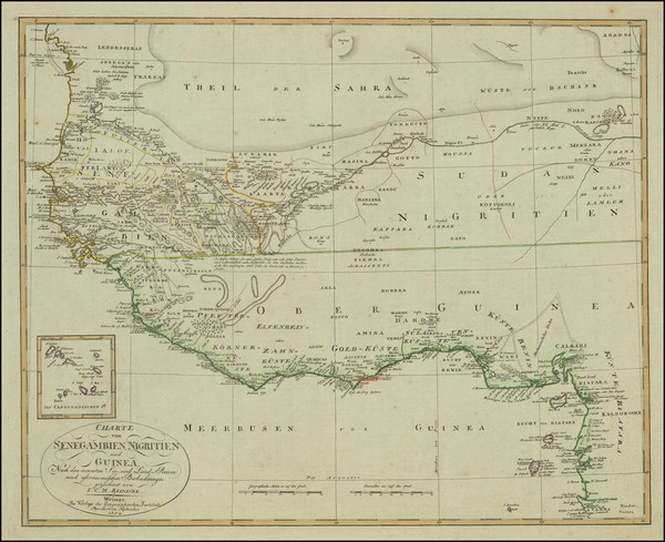 45-West Africa Map By Christian Gottlieb Reichard