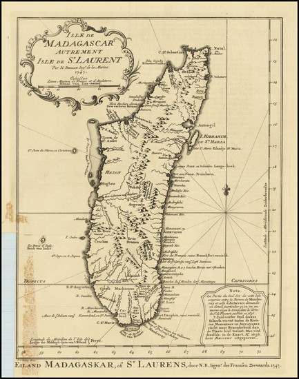 62-African Islands, including Madagascar Map By Jacques Nicolas Bellin