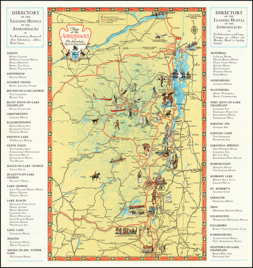 19-Vermont, New York State and Pictorial Maps Map By The Adirondack Resort Association / B. T. Fay