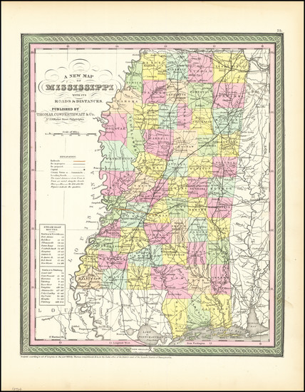 15-Mississippi Map By Thomas, Cowperthwait & Co.