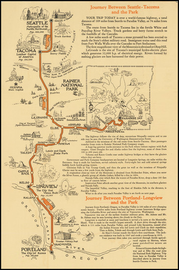 58-Washington and Pictorial Maps Map By Mount Rainier National Park