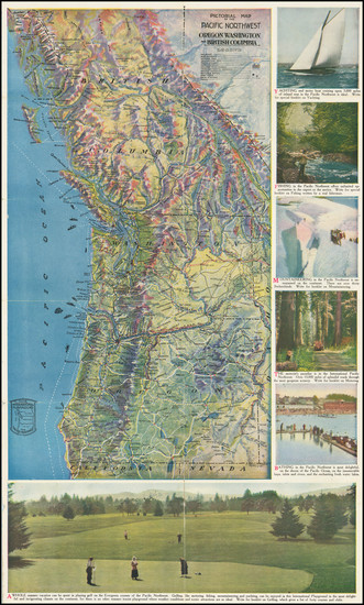 17-Oregon, Washington, Pictorial Maps and British Columbia Map By Pacific Northwest Tourist Associ