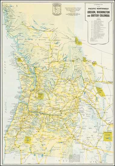 34-Oregon, Washington, Pictorial Maps and British Columbia Map By Pacific Northwest Tourist Associ