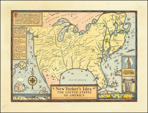 52-United States, New York State and Pictorial Maps Map By Daniel K. Wallingford