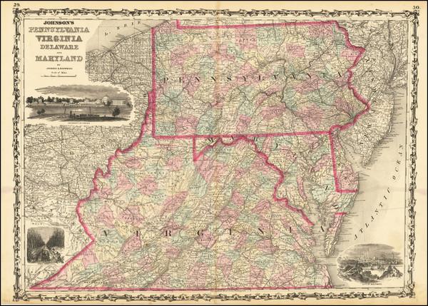 5-Pennsylvania, Maryland, Delaware, West Virginia and Virginia Map By Alvin Jewett Johnson  &