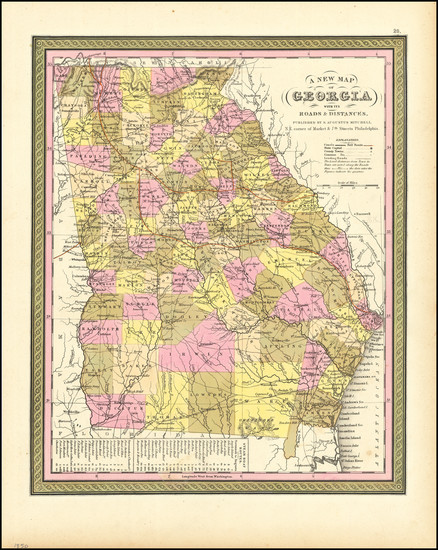 49-Georgia Map By Samuel Augustus Mitchell