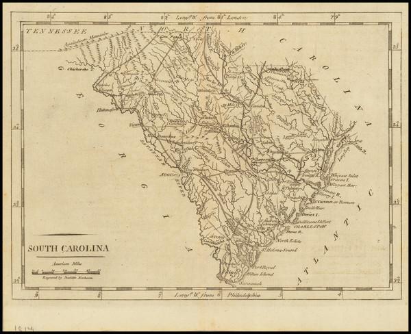 21-South Carolina Map By Mathew Carey