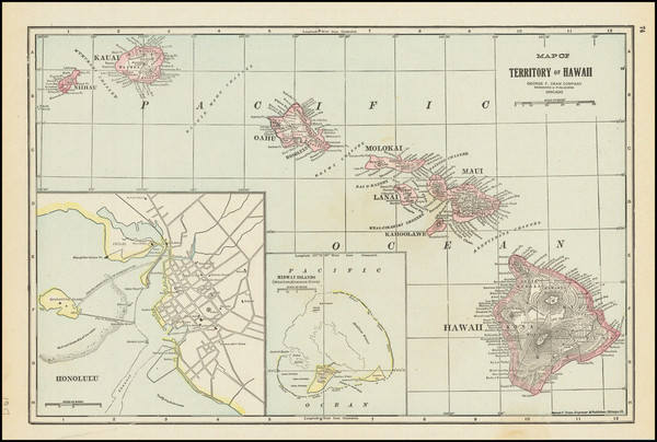 1-Hawaii and Hawaii Map By George F. Cram