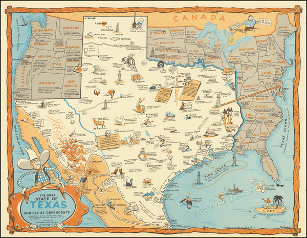 33-United States, Texas and Pictorial Maps Map By Schwark / Winfree Printing Co.