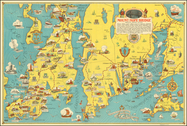 2-Massachusetts, Rhode Island and Pictorial Maps Map By H.W. Hetherington