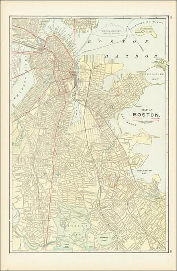 98-Boston Map By George F. Cram