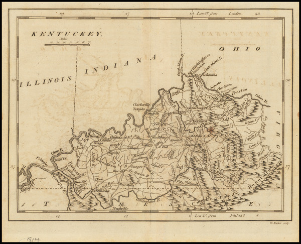26-Kentucky Map By Mathew Carey