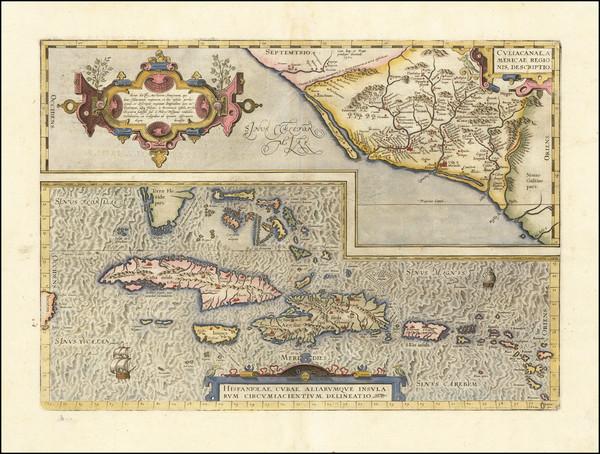 39-Mexico, Caribbean, Cuba, Hispaniola, Puerto Rico and Bahamas Map By Abraham Ortelius