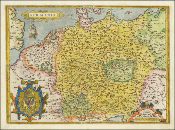 84-Netherlands, Poland, Baltic Countries and Germany Map By Abraham Ortelius
