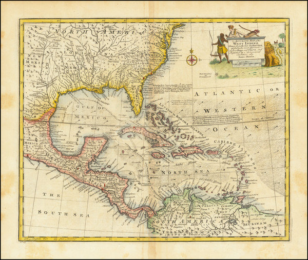 53-Florida, South, Southeast, Caribbean and Central America Map By Emanuel Bowen