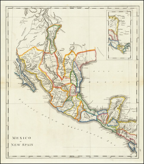 54-Texas, Southwest, Rocky Mountains and Mexico Map By Mathew Carey