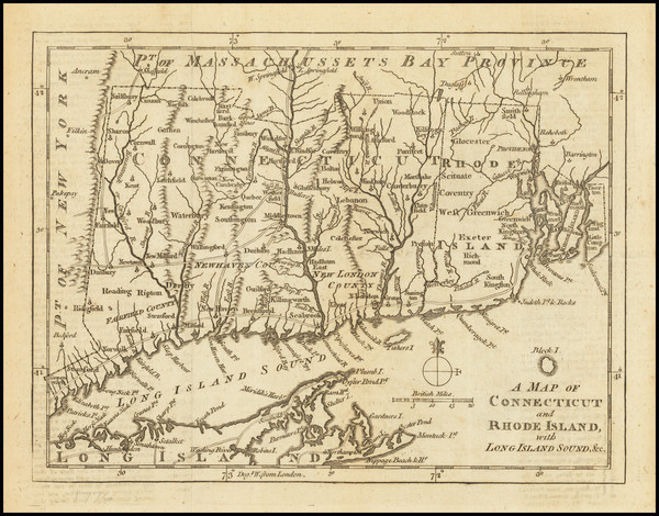 79-New England, Connecticut and Rhode Island Map By Gentleman's Magazine