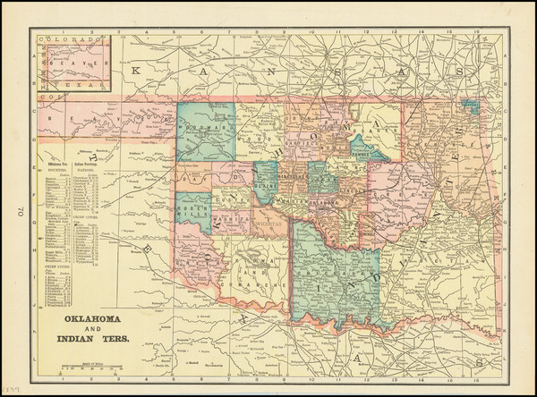 77-Oklahoma & Indian Territory Map By George F. Cram