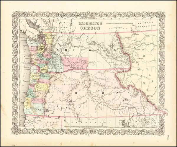 44-Idaho, Oregon and Washington Map By Joseph Hutchins Colton
