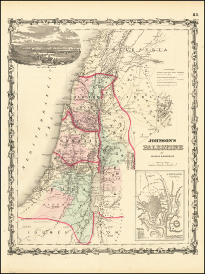 76-Holy Land Map By Alvin Jewett Johnson  &  Ross C. Browning