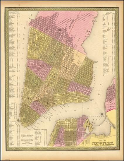 39-New York City Map By Samuel Augustus Mitchell