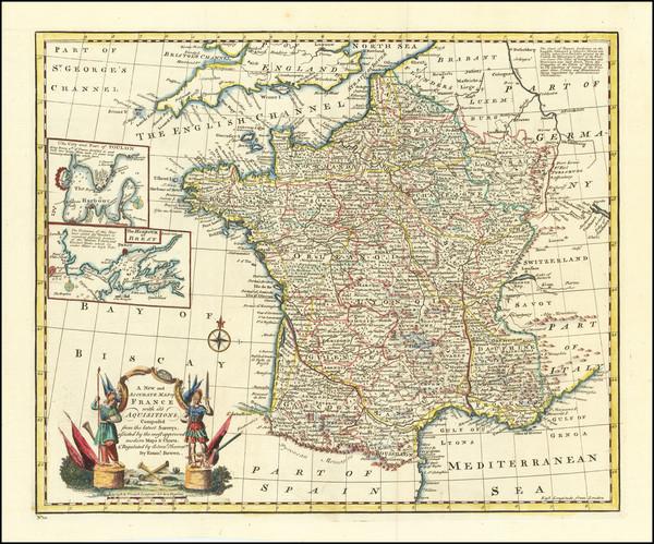 74-France Map By Emanuel Bowen