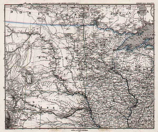 78-Midwest, Plains and Rocky Mountains Map By Adolf Stieler