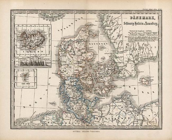 55-Europe, Scandinavia and Iceland Map By Adolf Stieler