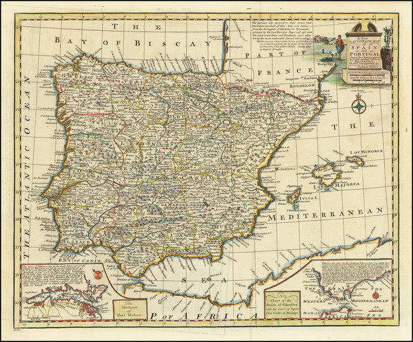 22-Spain and Portugal Map By Emanuel Bowen
