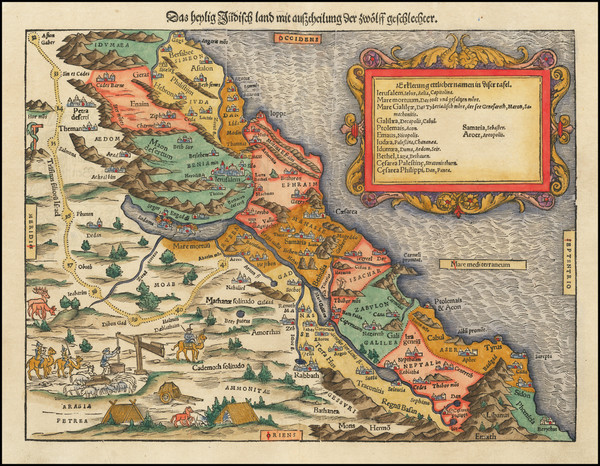 63-Middle East and Holy Land Map By Sebastian Munster