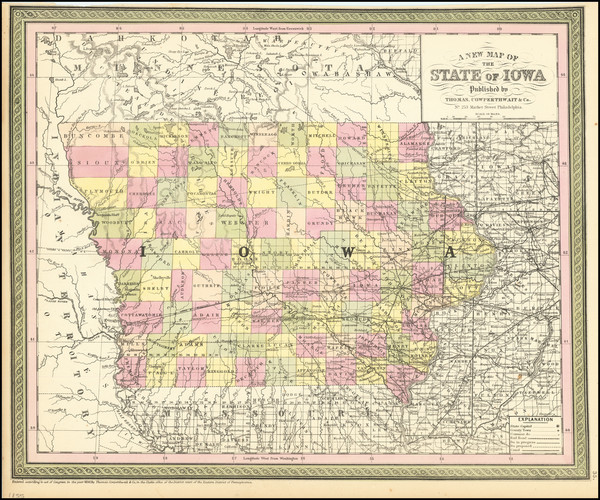 29-Iowa Map By Thomas, Cowperthwait & Co.