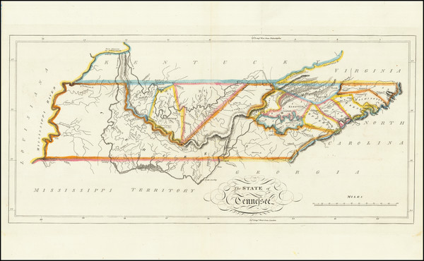 9-Tennessee Map By Mathew Carey