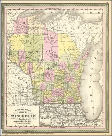 74-Wisconsin Map By Thomas, Cowperthwait & Co.