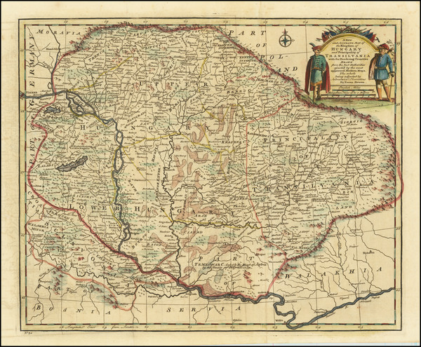76-Hungary, Romania, Czech Republic & Slovakia and Balkans Map By Emanuel Bowen