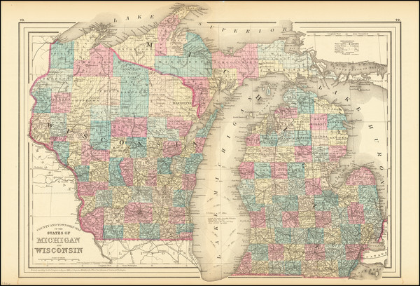 66-Michigan and Wisconsin Map By Samuel Augustus Mitchell Jr.