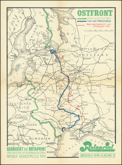 85-Russia, World War II and Germany Map By Rotaprint