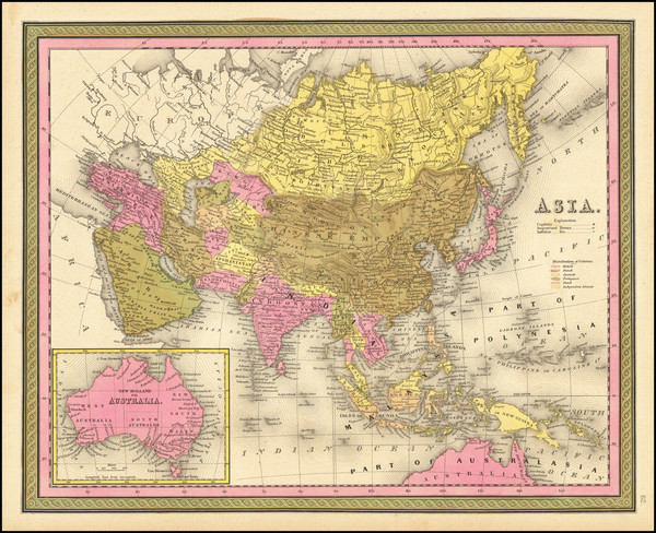 47-Asia and Australia Map By Samuel Augustus Mitchell