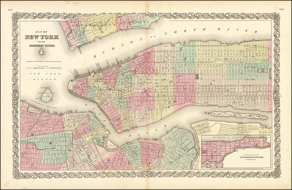 92-New York City Map By Joseph Hutchins Colton