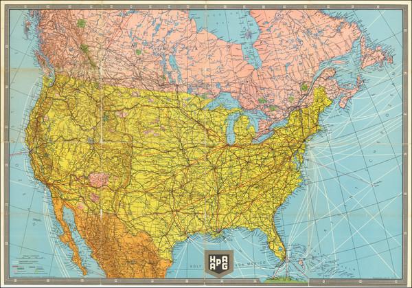 1-United States Map By Hamburg American Line / Bibliographische Institut