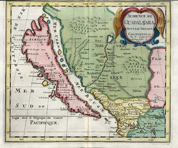 7-Southwest, Mexico, Baja California and California Map By Nicolas Sanson