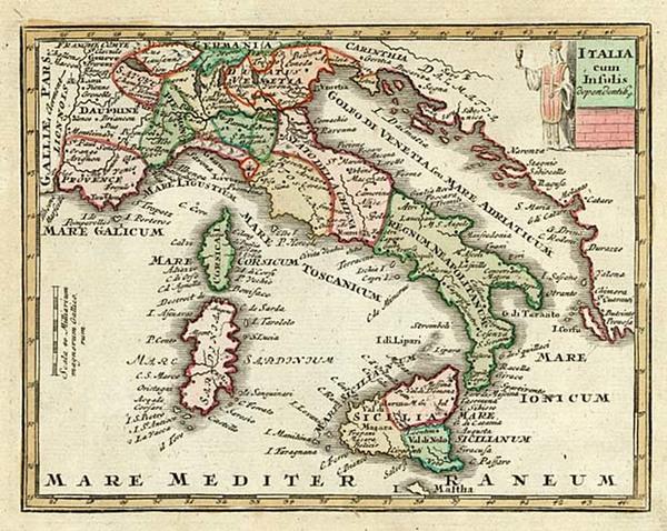 50-Europe, Italy and Balearic Islands Map By Adam Friedrich Zurner / Johann Christoph Weigel