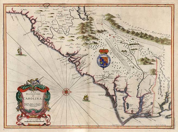 15-Mid-Atlantic, South and Southeast Map By John Speed