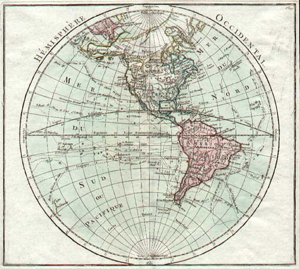 82-World, Western Hemisphere, South America and America Map By Louis Brion de la Tour