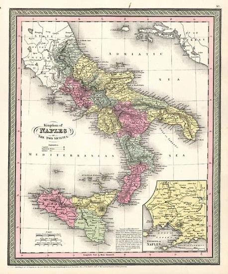 47-Europe, Italy, Mediterranean and Balearic Islands Map By Thomas, Cowperthwait & Co.