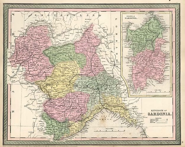 93-Europe, France, Italy, Mediterranean and Balearic Islands Map By Thomas, Cowperthwait & Co.
