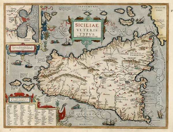 67-Europe, Italy, Mediterranean and Balearic Islands Map By Abraham Ortelius