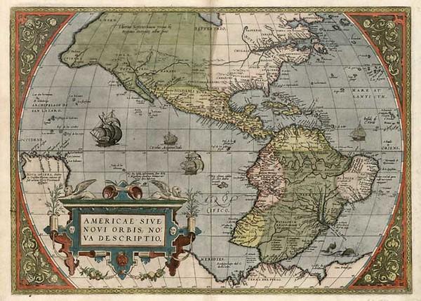 82-World, Western Hemisphere, South America and America Map By Abraham Ortelius