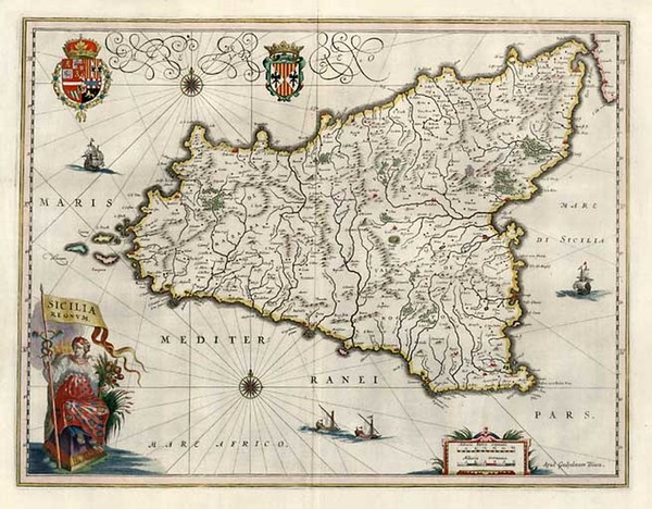 63-Europe, Italy, Mediterranean and Balearic Islands Map By Willem Janszoon Blaeu