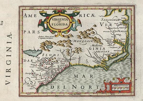 27-Mid-Atlantic and Southeast Map By Henricus Hondius - Gerhard Mercator